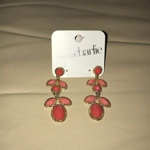 Coral and pink dangle earrings